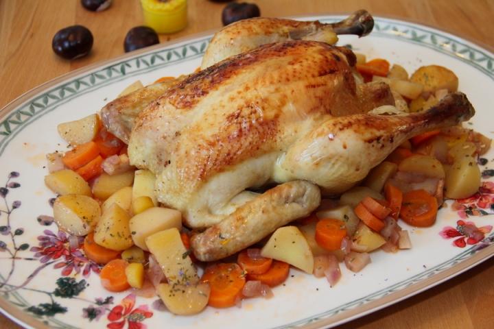 Geschmortes Huhn