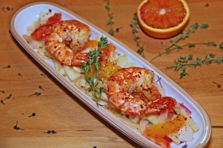 Fenchel-Orangen-Salat mit Garnelen